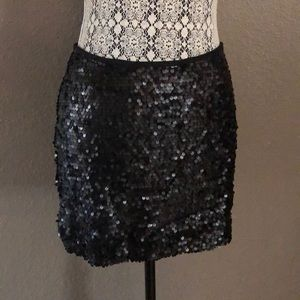 express women's sequin black skirt